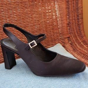 Evan Picone black satin rhinestone buckle heels